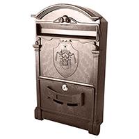 Фото Пластиковый почтовый ящик Vita PO-0015 Английский герб коричневый