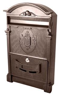 Фото Пластиковый почтовый ящик Vita PO-0013 Тризуб коричневый